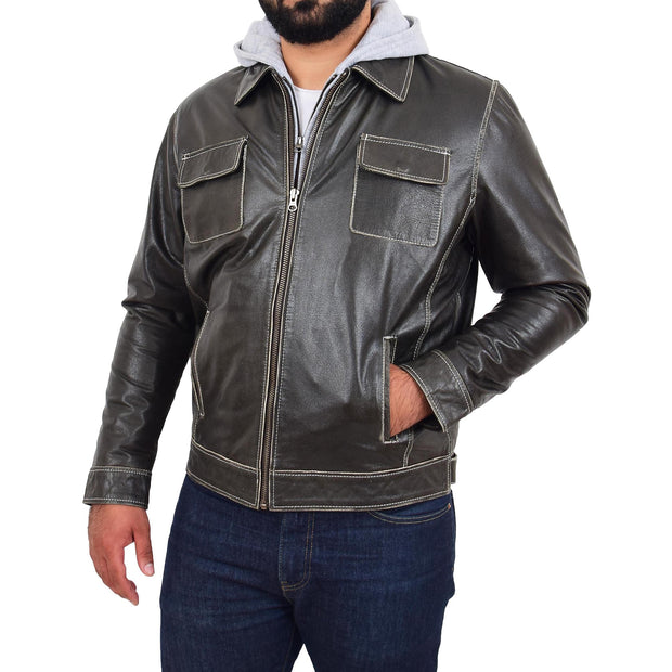 Mens Real Cowhide Grey Jacket Biker Trucker Vintage Style Hoodie Jason