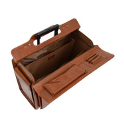 Exclusive Real Cognac Leather Pilot Case Wheeled Cabin Bag Briefcase London Open