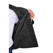 Gents Real Leather Button Box Jacket Classic Regular Fit Coat Luis Black Lining