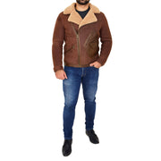 Mens Real Sheepskin Jacket Antique Flying Shearling B3 Coat Rocky Brown Full