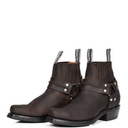Real Leather Square Toe Cowboy Ankle Boots AR70 Brown Pair 2
