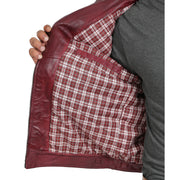 Gents Fitted Biker Leather Jacket Django Burgundy Lining