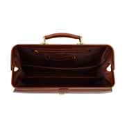 Exclusive Doctors Leather Bag Cognac Italian Briefcase Gladstone Bag Doc Top Open