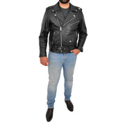 Genuine Cowhide Biker Leather Jacket For Men Casual Brando Coat Rock Black Full