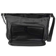 Womens Black Leather Multi Pocket Cross Body Shoulder Bag Elsie Open