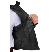 Trendy Genuine Soft Leather Biker Zipper Jacket For Men Rider Black Lining