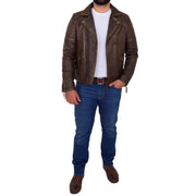 Mens Real Leather Biker Jacket Vintage Copper Rust Rub Off Slim Fit Style Max Full