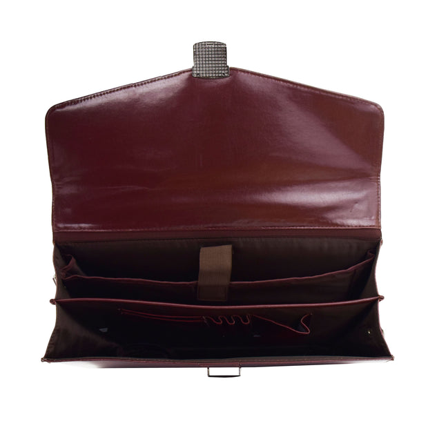 Brown Leather Briefcase For Mens Laptop Business Organiser Shoulder Bag Alvin Open
