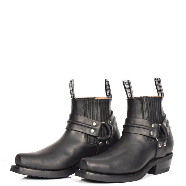 Real Leather Square Toe Cowboy Ankle Boots AR70 Black Pair 2