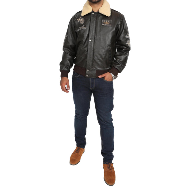 Mens Pilot Bomber Leather Jacket Spitfire Brown full view