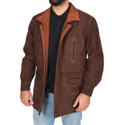 Gents Nubuck Leather Parka Coat Henry Brown zip open