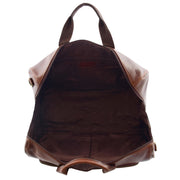 Genuine Leather Holdall Weekend Gym Business Travel Duffle Bag Ohio Brown Open