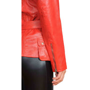 Womens Fitted Mid Length Biker Leather Jacket Hannah Red Feature 4