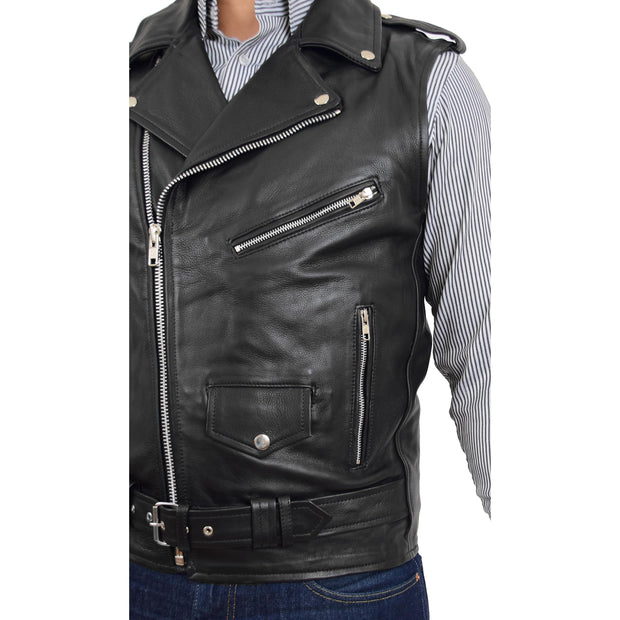 Mens Cowhide Leather Biker Waistcoat Sleeveless Brando Style Gilet Hurley Black Feature
