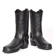 Real Leather Square Toe Eagle Design Biker Boots AEB77H Black Pair 2