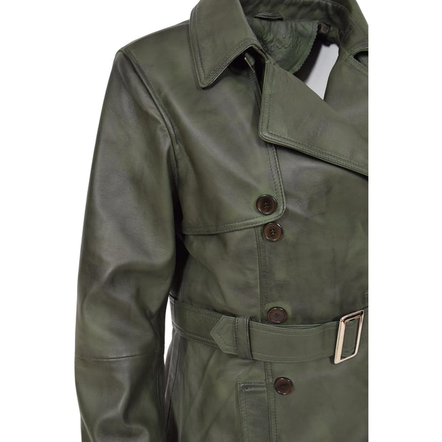 Womens Soft Leather Trench Coat Olivia Green Feature