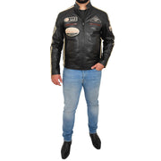 Mens BLACK Leather Biker Jacket Slim Fit Motor Sports Badges Coat Wayne Full