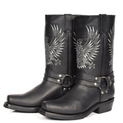 Real Leather Square Toe Cowboy Biker Boots AE33 Black Pair 2