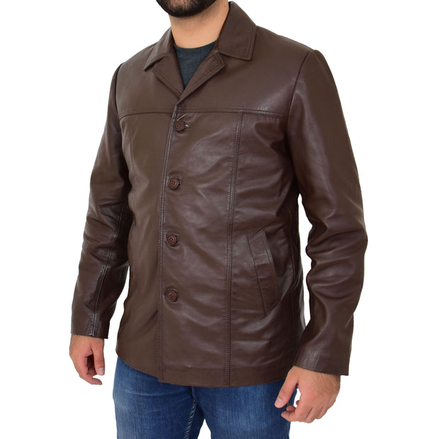 Mens Casual Leather Jacket Hip Length Brown Reefer Blazer Coat Harold Front Side