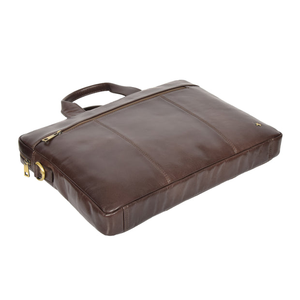 Laptop Briefcase Real Leather Business Bag Messenger Satchel Brown Nice Back Letdown
