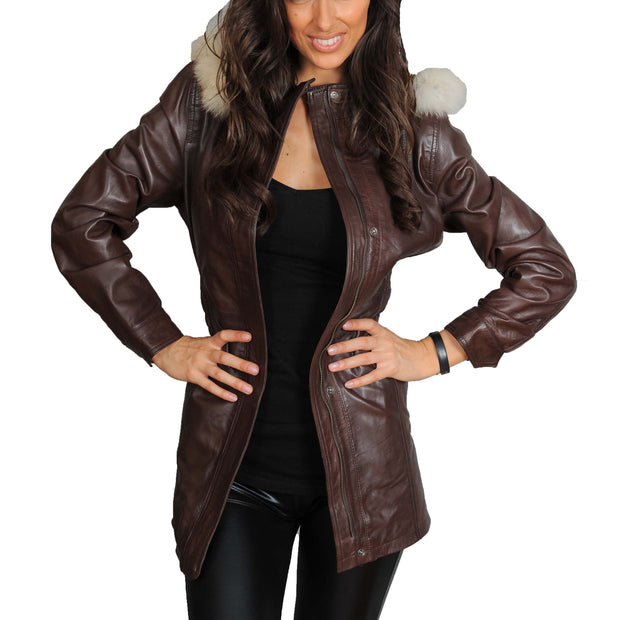 Womens Duffle Leather Coat Detachable Hood 3/4 Long Parka Jacket Mila Brown Open