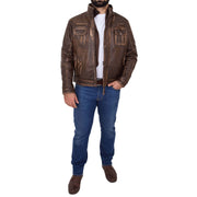 Rust Rub Off Biker Leather Jacket For Men Vintage Rugged Style Coat Mario Full