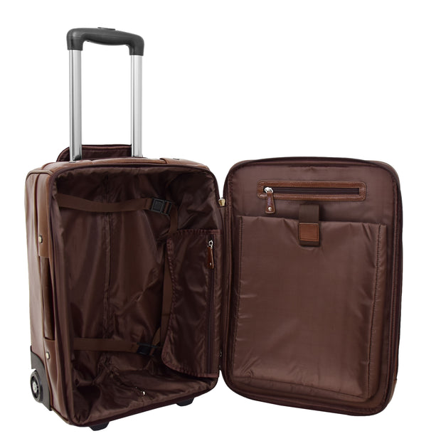 Luxurious Brown Leather Cabin Size Suitcase Hand Luggage Beverley Hills Open