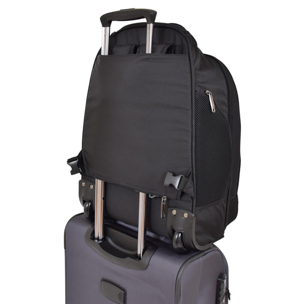 Wheeled Backpack Cabin Hand Luggage Travel Bag Hiking Rucksack Jenkins Black With Trolley