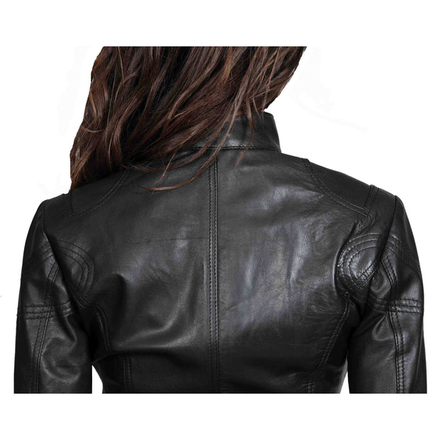 Womens Fitted Leather Biker Jacket Casual Zip Up Coat Jenny Black Back Feature