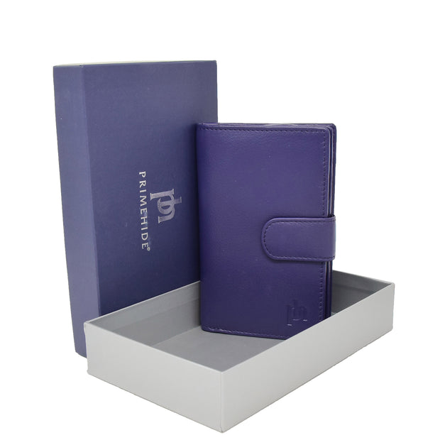 Womens Soft Real Leather Purse Trifold Booklet Clutch AL22 Purple With Box