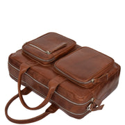 Pure Leather Briefcase Laptop Satchel Office Business Bag Otis Cognac Letdown