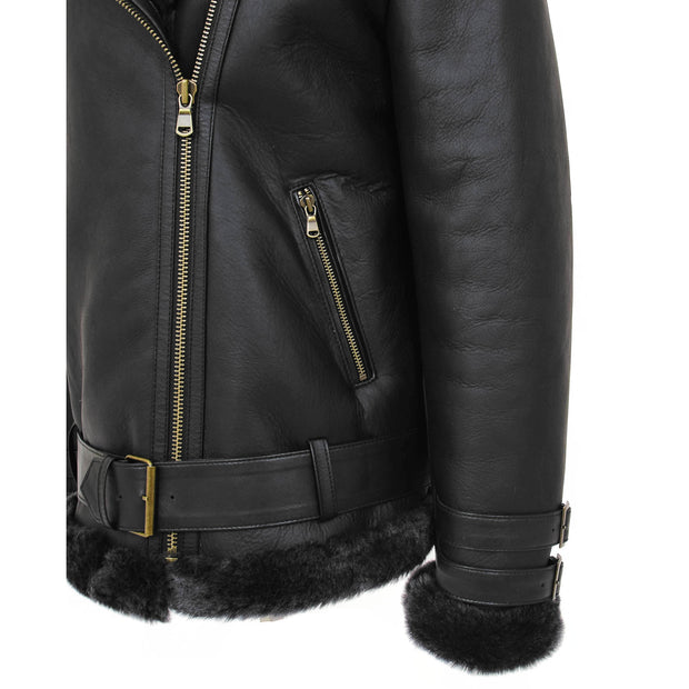 Womens Real Sheepskin Jacket Black X-Zip Aviator Belted Shearling Coat Willow Feature