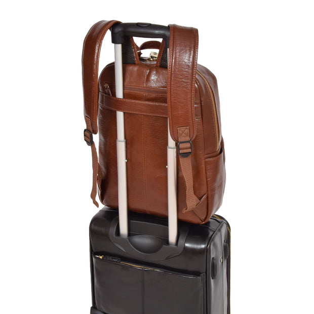 Womens Backpack Chestnut Real Leather Large Travel Rucksack Cora With Trolley