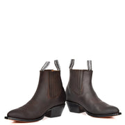 Real Leather Pointed Toe Chelsea Ankle Boots AMA79 Brown Pair 1