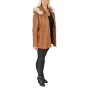 Womens Zip up Detachable Hood Parka Duffle Leather Coat Isabella Tan Full 2