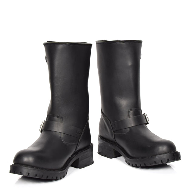 Real Leather Round Toe Buckle Design Biker Boots ATB45H Black Pair 1