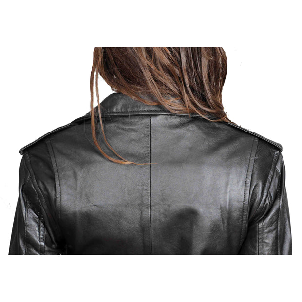 Ladies Belted Gorgeous Fitted Biker Real Leather Jacket Megan Black Feature 2