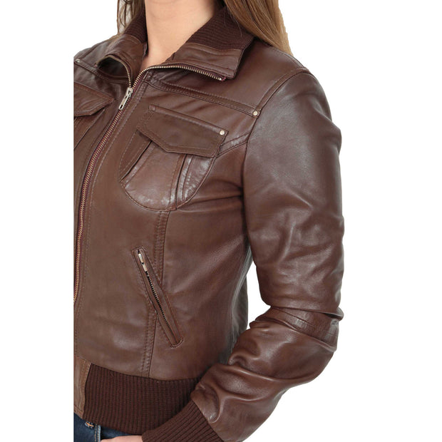 Womens Slim Fit Bomber Leather Jacket Cameron Brown Feature 2