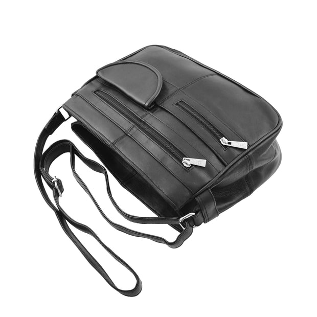 Ladies Soft Leather Crossbody Multi Zip Pockets Bag Dolores Black Top View