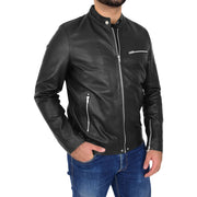 Mens Fitted Black Leather Biker Jacket Zip Fasten Brock Front 2