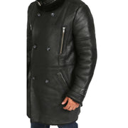 Mens Genuine Sheepskin 3/4 Long Reefer Trench Coat Bruno Black Feature