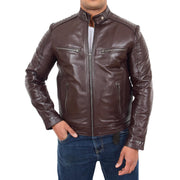 Mens Cafe Racer Biker Leather Slim Fit Jacket Teddy Brown Front 2