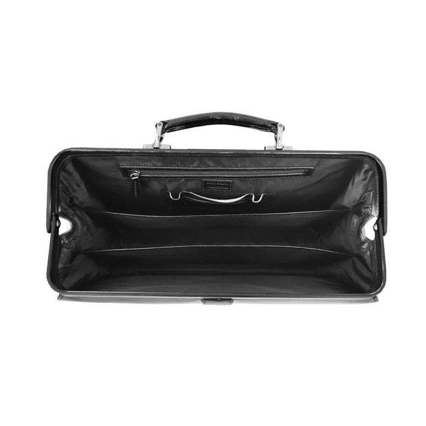 Exclusive Doctors Leather Bag Black Italian Briefcase Gladstone Bag Doc Open