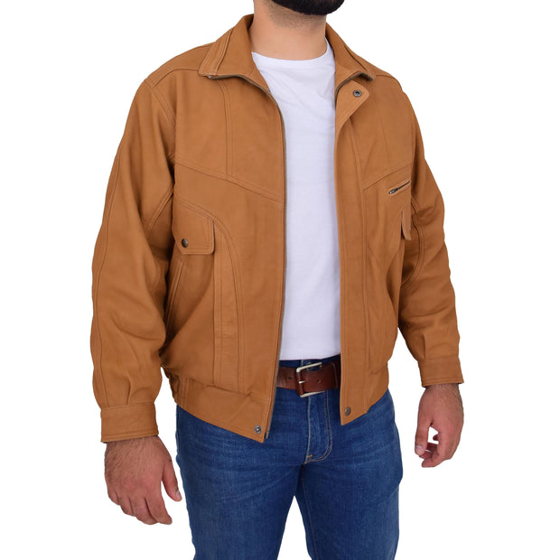 Mens Soft Real Buff Leather Blouson Jacket Classic Bomber Coat Peter Tan Open Side