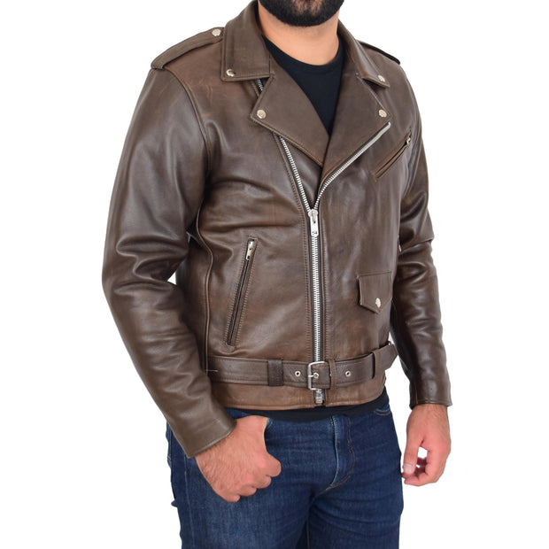 Mens Genuine Cowhide Biker Jacket Heavy Duty Antique Brown Leather Coat Rock Front 2