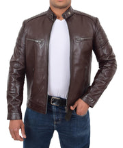 Mens Cafe Racer Biker Leather Slim Fit Jacket Teddy Brown Open 2