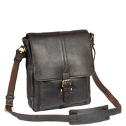 Mens Real Leather Cross body Messenger Bag A224 Brown