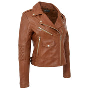 Womens Short Fitted Cognac Biker Style Real Leather Jacket Ayla