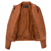 Womens Soft Tan Leather Biker Jacket Designer Stylish Fitted Quilted Celeste Lining