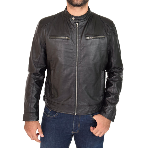 Mens Leather Jacket Biker Style Zip up Coat Bill Black